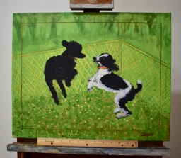 "I made this painting referencing a photo I snapped of them playing in the snow last winter. I was longing for spring, so I transformed it into ""Dandelions & Dogs"" with lots of green!"