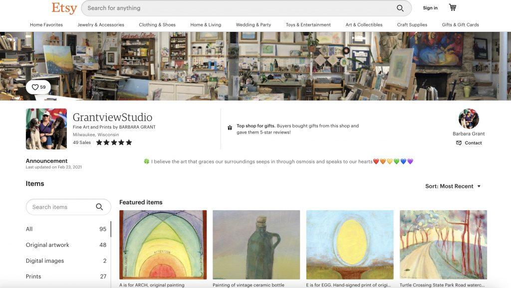 Etsy Shop (GrantviewStudio Fine Art and Prints by BARBARA GRANT)